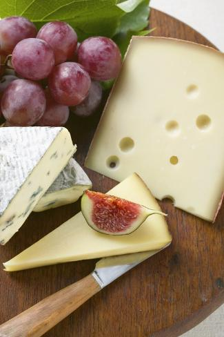 Cheese Board with Fig and Grapes Photographic Print