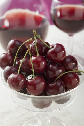 Cherries in a Stemmed Glass Bowl Photographic Print