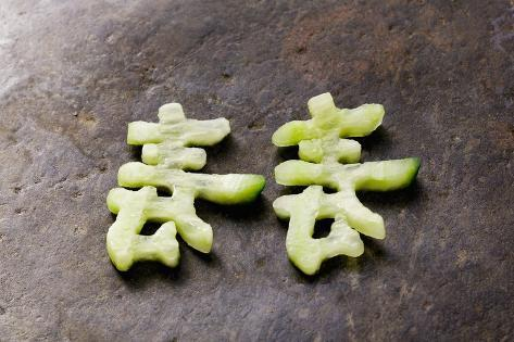Chinese Characters Made from Cucumber Photographic Print