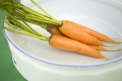 Fresh Carrots in White Dish Photographic Print