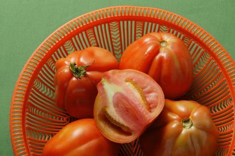 Fresh Tomatoes in Red Bowl (Close-Up) Photographic Print