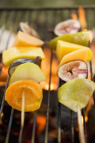 Fruit Kebabs on Barbecue Grill Rack Photographic Print