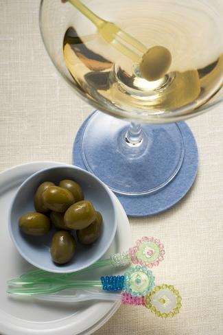 Martini and Green Olives Photographic Print