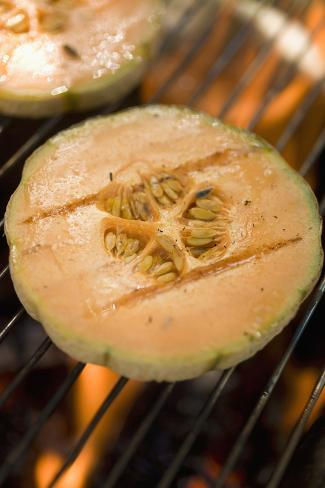 Melon Slices on Barbecue Grill Rack Photographic Print