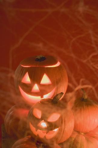 Pumpkin Lanterns for Halloween Photographic Print