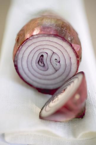 Red Onion, Cut into Two Pieces Photographic Print