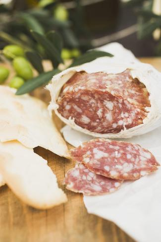 Salami and Crackers on Wooden Table Photographic Print