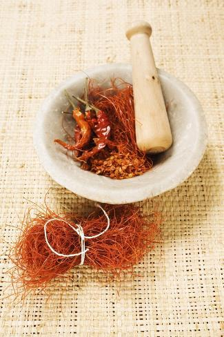 Spices (Saffron and Chili) in a Mortar Photographic Print
