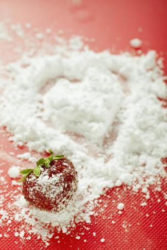 Strawberry with Icing Sugar Photographic Print