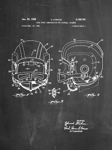 Football Helmet With Chinstrap Patent Prints At Allposters Com