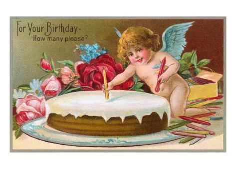 For Your Birthday, Cherub with Cake Art Print