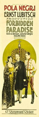 Forbidden Paradise, Pola Negri, Adolphe Menjou, Rod La Rocque, 1924 Stampa artistica