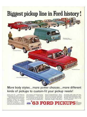 Ford 1963 Biggest Pickup Line Stampa artistica
