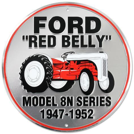 Ford Red Belly Model 8N Red Tractor Round Tin Sign