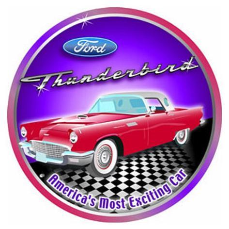 Ford Thunderbird Car Round Tin Sign