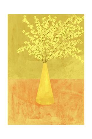 Forsythia in a Vase on Orange Surface Art Print