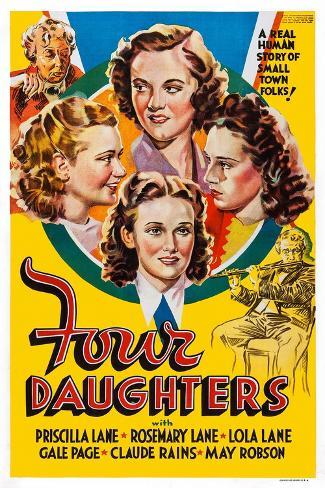 Four Daughters, Gale Page, Rosemary Lane, Priscilla Lane, Lola Lane, 1938 Stampa artistica