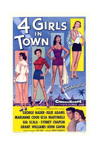 Four Girls in Town Konstprint