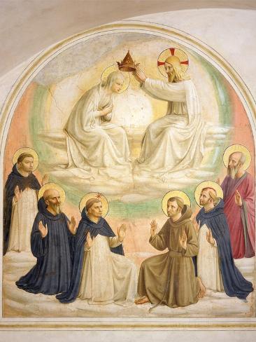 The Coronation of the Virgin, with Saints Impressão giclée