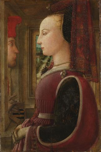 Portrait of a Woman with a Man at a Casement, c.1440 Lámina giclée