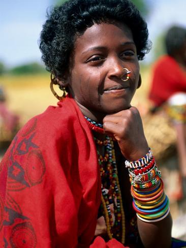 Portrait of Girl Riding Home from Market Near Tessenei, Eritrea Photographic Print