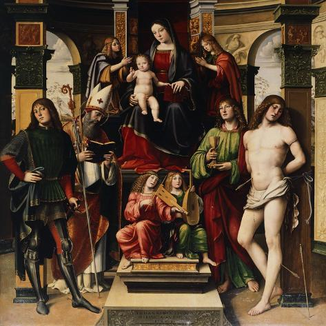 Madonna with Child, Angels and Saints Giclee Print