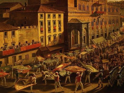 Standard Bearers, from Procession of Contrade for the Palio of 18 and 19 August 1818 Giclee Print