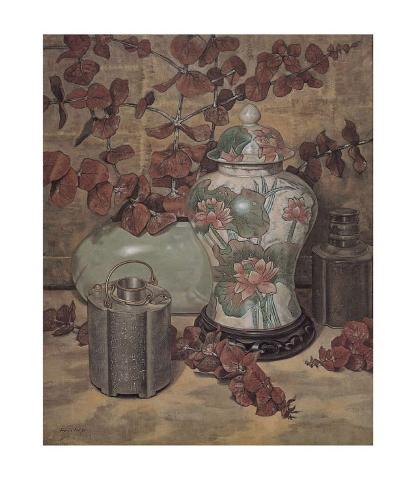 Eucalyptus with Lotus Vase Art Print