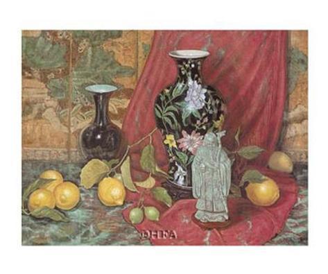 Lemons with Black Vase Art Print