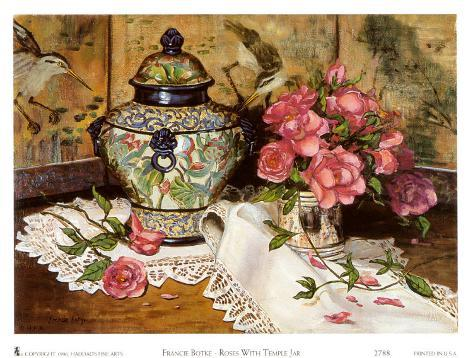 Roses with Temple Jar Art Print