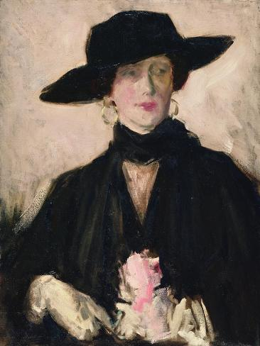 Lady in a Black Hat Giclee Print