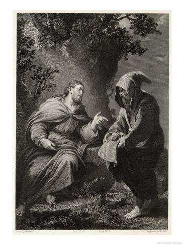 Jesus is Tempted by Satan in the Wilderness, Command This Stone That It be Made Bread Impressão giclée