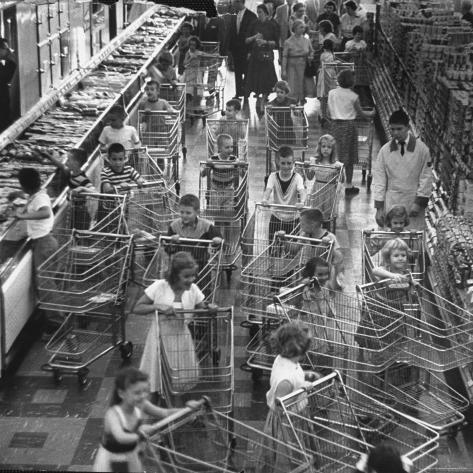 Children with Shopping Carts Let Loose in Supermarket During Experiment by Kroger Food Foundation Photographic Print