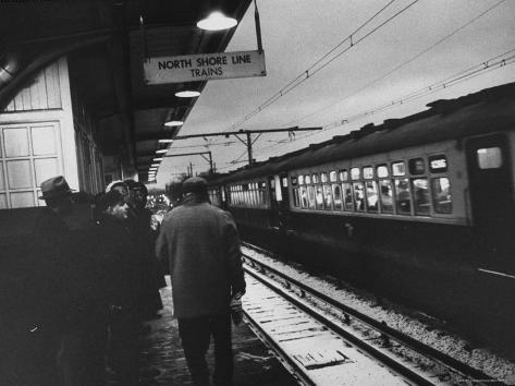 Close Up of Chicago North Shore Railroad Commuters Photographic Print