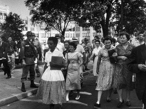 Elizabeth Eckford with Snarling Parents After turning Away From Entering Central High School Photographic Print