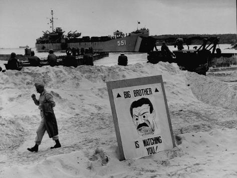 Imposing Sign Placed on Beach by Defending Troops, Copied from Article on George Orwell's 1984 Photographic Print