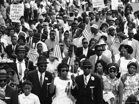 Marchers Carrying American Flags and Signs During the Walk to Freedom For Racial Equality Photographic Print