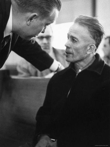 Mass Murderer Ed Gein Getting Advice from His Lawyer, William Belter Waushara County Premium Photographic Print