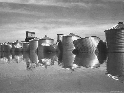 Missouri River Floods Waters Swells Corn in Government Storage Bins Causing Them to Burst Photographic Print