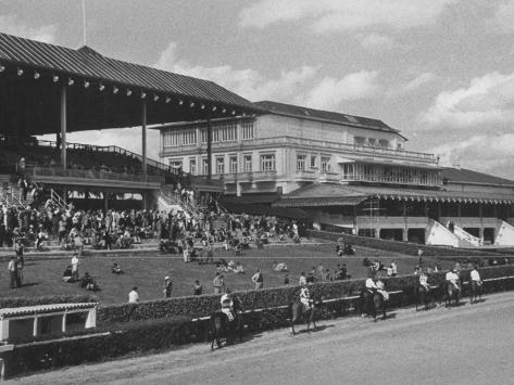 Race Track and Stands with Clubhouse with Casino at Right Photographic Print
