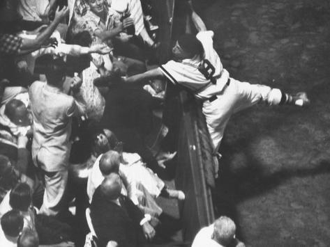 Red Sox Player Sammy White Reaching into Grandstands for Foul Ball Against Chicago White Sox Premium Photographic Print