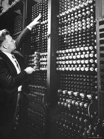 Technician Manipulating 1 of Hundreds of Dials on Panel of IBM's Room Size Eniac Computer Photographic Print