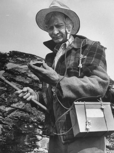 Uranium Prospector Clarence Cody Using Homemade Geiger Counter Photographic Print