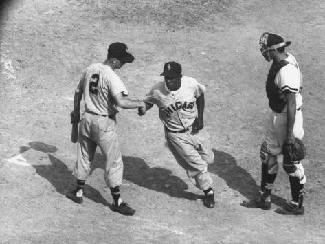 White Sox Player Nellie Fox at Home Plate, Shaking Hands with Minnie Minoso During Game Premium Photographic Print