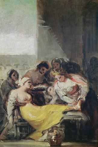 St. Isabella Caring for the Lepers Lámina giclée