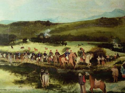 Simon Bolivar and Francisco De Paula Santander Travelling to Bogota Giclee Print
