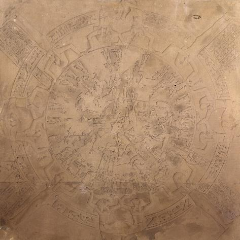 Astrological Planisphere of Zodiac of Denderah, from chapel ceiling at Temple of Hathor, Egypt Giclee Print