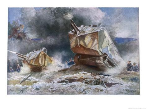 French Tanks in Action Towards the End of the War Giclee Print