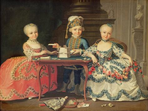 Group Portrait of a Boy and Two Girls Building a House of Cards with Other Games by the Table Giclee Print