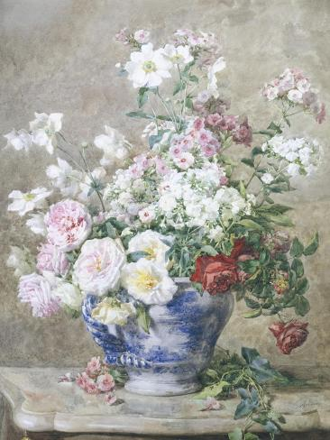 Still Life of Anemones and Roses in a Blue and White Vase Giclee Print